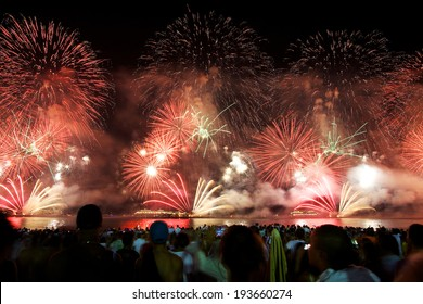 RIO DE JANEIRO - DECEMBER 31, 2013 : Fireworks display at Copacabana beach new years eve