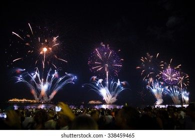 RIO DE JANEIRO - DECEMBER 31, 2013 : Great Fireworks display at Copacabana beach on the new years eve.