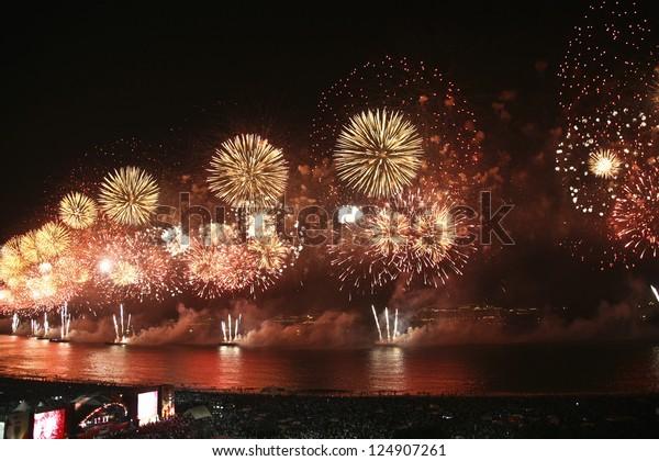 RIO DE JANEIRO - DECEMBER 31, 2012 :  Spectacular fireworks display at Copacabana beach new years eve december 31, 2012