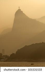 Rio de Janeiro at dusk with the view of Corcovado.