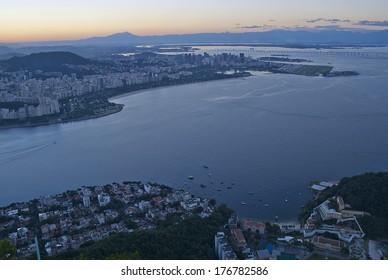 RIO DE JANEIRO, February, 02: Night view of Guanabara Bay, downtown and district in Rio de Janeiro, Brazil. February, 02, 2014