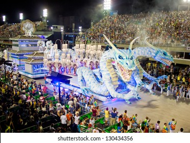 RIO DE JANEIRO - FEBRUARY 11: Show with decorations of dragons on carnival Sambodromo in Rio de Janeiro February 11, 2013, Brazil. The Rio Carnival is biggest carnival in world.