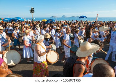 RIO DE JANEIRO - FEBRUARY 18, 2017: A traditional afternoon banda street party in Ipanema draws crowds of Brazilians during the city's Carnival celebrations.