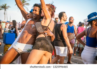 RIO DE JANEIRO - FEBRUARY 18, 2017: An afternoon banda street party in the Farme de Amoedo gay section of Ipanema draws crowds of young Brazilians during the city's Carnival celebrations.