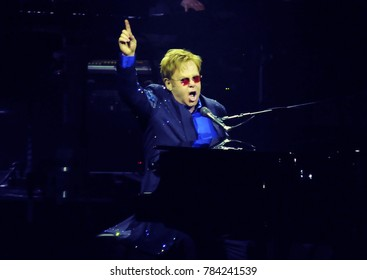Rio de Janeiro, February 19, 2014. Singer and pianist Elton John, during his show at the HSBC Arena in Rio de Janeiro, Brazil