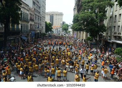 Rio de Janeiro, February 23, 2014. Block of Carnival Fire and Passion.Folions play during the parade of the block in the center of the city of Rio de Janeiro.