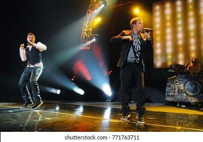 Rio de Janeiro, February 25, 2011. Backstreet Boys Band, during show at Citibank Hall, in the city of Rio de Janeiro, Brazil