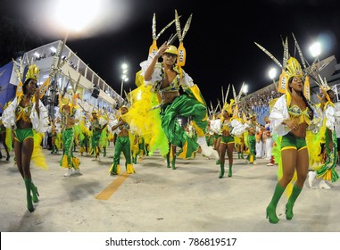 Rio de Janeiro, February 26, 2017. Parade of the Samba Schools during the Carnival of Rio de Janeiro, considered the largest carnival in the world, in Sambodromo, in the city of Rio de Janeiro, Brazil
