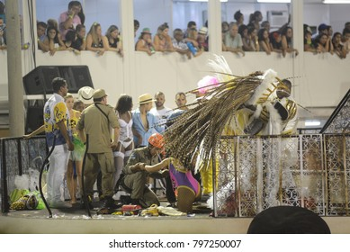 Rio de Janeiro, February 26, 2017. Alleged allegorical car causes accident and leaves injured during the parade of the Samba schools in the sambodrome of the city of Rio de Janeiro, Brazil
