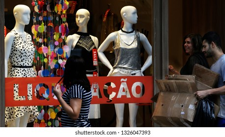 Rio de Janeiro February 27th, 2019   A store anounces a sale on their store window due the economic crisis in Brazil