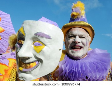 Rio de Janeiro, February 7, 2015. Revelers play during the parade of the block Simpatia e Quase Amor, in the street carnival of the city of Rio de Janeiro, Brazil