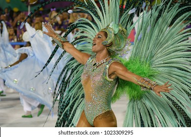 Rio de Janeiro, February 9, 2018. Samba Schools Parade during the Carnival of Rio de Janeiro, considered the largest carnival in the world, in Sambodromo, in the city of Rio de Janeiro, Brazil.