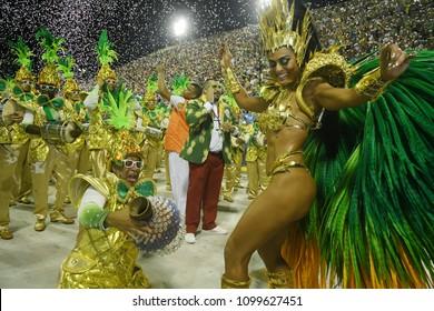 Rio de Janeiro, February 9, 2018. Parade of the Samba Schools of the Special Group during the Carnival of Rio de Janeiro, considered the largest carnival in the world, in the Sambódromo.