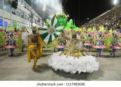 Rio de Janeiro, February 9, 2018. Samba Schools Parade during the Carnival of Rio de Janeiro, considered the largest carnival in the world, in Sambodromo, in the city of Rio de Janeiro, Brazil.