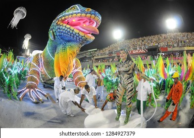 Rio de Janeiro, February 9, 2018. Parade of the Samba Schools of the Special Group during the Carnival of Rio de Janeiro, considered the largest carnival in the world, in the Sambódromo
