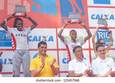 RIO DE JANEIRO- JAN 20: Maurine Jelagat Kipchumba, Jackline Juma Sakilu, Rosangela Raimunda Pereira with their prizes. Event Race Sao Sebastiao 2013. On January 20, 2013 in Rio de Janeiro, Brazil.