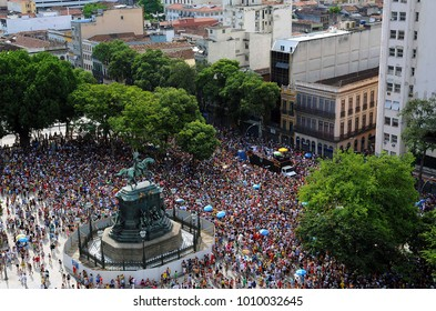 Rio de Janeiro, January 31, 2016. Revelers fill the Tiradentes square in the center of Rio, during the parade of the Toca Raul block, in the street carnival of the city of Rio de Janeiro, Brazil