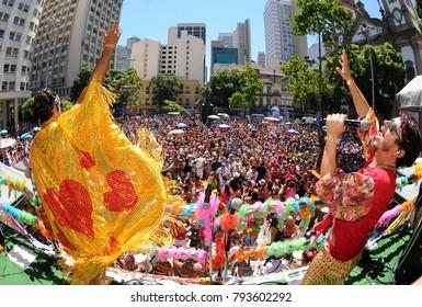 Rio de Janeiro, January 31, 2016. Singers cheer up revelers over the electric trio during the Fogo and Paixão block parade during the street carnival of the city of Rio de Janeiro, Brazil