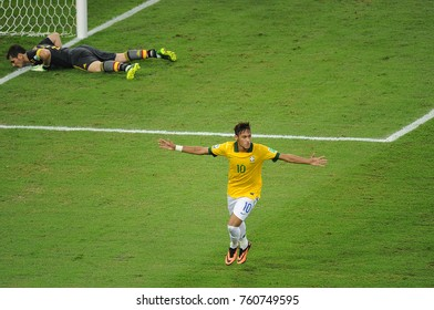 Rio de Janeiro, July 1, 2013. Brazilian soccer player Neymar, celebrating his goal in the match Brazil vs. Spain in the final of the Confederations Cup 2013, in Etadio do Maracanã in the city of Rio d