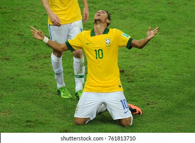 Rio de Janeiro, July 1, 2013. Brazilian soccer player Neymar, celebrating his goal in the match Brazil vs. Spain in the final of the Confederations Cup 2013, in Etadio do Maracana in the city of Rio