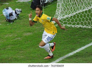 Rio de Janeiro, July 1, 2013. Brazilian soccer player Neymar, celebrating his goal in the match Brazil Vs. Spain in the final of the Confederations Cup 2013, at the Maracana Stadium.