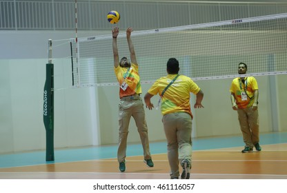 Rio de Janeiro  July 30th,2016 Volunteers plays Volleybal in a interval of training practices