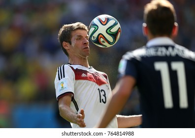 Rio de Janeiro, July 4, 2014. German footballer Thomas Muller, during the match between France and Germany, for the 2014 World Cup at the Maracanã Stadium in Rio de Janeiro, Brazil.