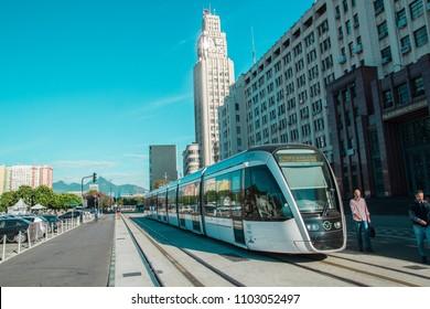 RIO DE JANEIRO, JUNE 01, 2018: View of VLT tram in Central do Brasil Station, Rio de Janeiro