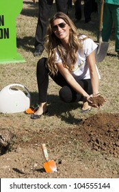 RIO DE JANEIRO - JUNE 04:  Top Model Gisele Bundchen planting the tree Sapucaia. Event Green Nation Fest,June 04, 2012 in Rio de Janeiro,Brazil