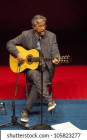 RIO DE JANEIRO - JUNE 13: Caetano Veloso performs during The Humanidade Event on June 13, 2012 in Rio de Janeiro ,Brazil