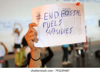 Rio de Janeiro, June 15, 2012. Protestors protesting the end of the use of subsidies for fossil fuels, during Rio + 20 at Riocentro, in the city of Rio de Janeiro, Brazil