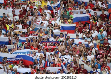 RIO DE JANEIRO - JUNE 22: Russian  fans cheering on the FIFA World Cup 2014 game between Russia and Belgium at the Maracana stadium on June 22, 2014 in Rio De Janeiro, Brazil. No Use in Brazil.
