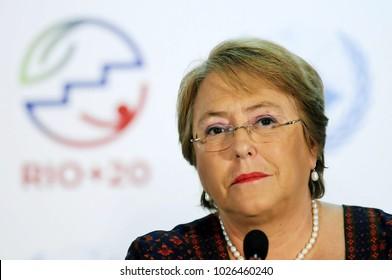 Rio de Janeiro, June 24, 2012. Chilean President Michelle Bachelet attends a conference during Rio + 20, in Rio Centro, in the city of Rio de Janeiro, Brazil