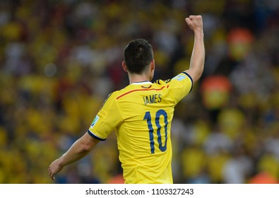 Rio de Janeiro, June 28, 2014. Football player James Rodrigues, celebrating his goal during the match Colombia vs Uruguay, for the 2014 World Cup at the Maracanã Stadium in Rio de Janeiro, Brazil.