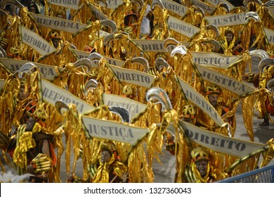 Rio de Janeiro, MARCH 01, 2019. Parade of the Samba Schools of the Special Group during the Carnival of Rio de Janeiro, considered the largest carnival in the world, in the Sambódromo.