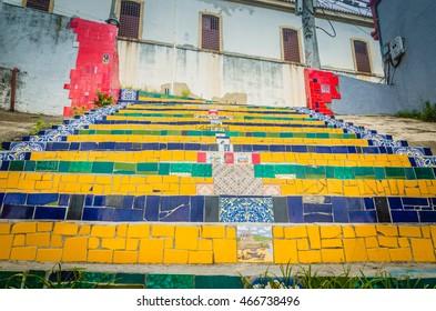 RIO DE JANEIRO - March 07, 2016: Escadaria Selaron. Escadaria Selaron is a set of world-famous steps decorated with blue, green and yellow tiles - the colours of the Brazilian flag.