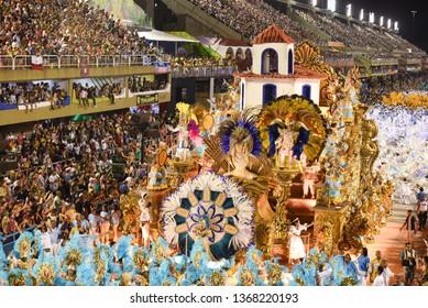 RIO DE JANEIRO, MARCH 09, 2019: Samba School Portela during parade in Sambodromo for the Carnival Samba competition, Rio de Janeiro