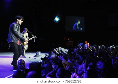 Rio de Janeiro, March 12, 2013. Vocalist Nick Jonas of the band Jonas Brothers, during his show at Citibank Hall in Rio de Janeiro, Brazil.