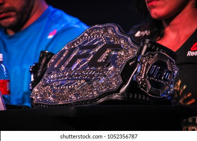RIO DE JANEIRO, MARCH 20, 2018: Belt of UFC (Ultimate Fight Championship) during press conference
