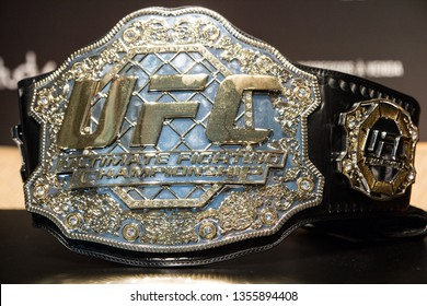 RIO DE JANEIRO, MARCH 28, 2019: Belt of UFC (Ultimate Fight Championship) during press conference