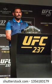 RIO DE JANEIRO, MARCH 28, 2019: Fighter Rodrigo Nogueira, also knows Minotauro, during press conference of UFC (Ultimate Fight Championship)