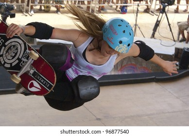 RIO DE JANEIRO - MARCH 3: Karen Sonz of Brazil performs at the World Circuit of the World Cup Skateboarding event on March 3, 2012 in Rio de Janeiro, Brazil.