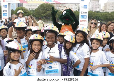 RIO DE JANEIRO  MARCH 31: unidentified children's group of Brazil in the patio with the mascot Biklas at the event Kids Bike Tour. Event Kids Bike Tour  March 31, 2012 in Rio de Janeiro, Brazil