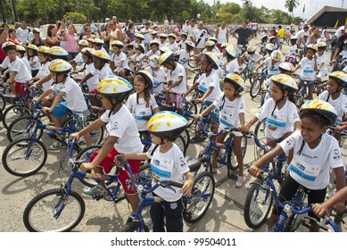 RIO DE JANEIRO  MARCH 31: unidentified  children's group from Brazil awaiting the turn to ride the bikes in the event Kids Bike Tour. Event Kids Bike Tour  March 31, 2012 in Rio de Janeiro, Brazil