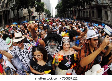 Rio de Janeiro, March 5, 2011 Foliões crowd the streets of the city center during the parade of the Bola Preta block in the street carnival of the city of Rio de Janeiro, Brazil