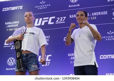 Rio de Janeiro, may 09, 2019, Brazil: Portrait of fighter Rose Namajunas during UFC press conference, Rio de Janeiro.