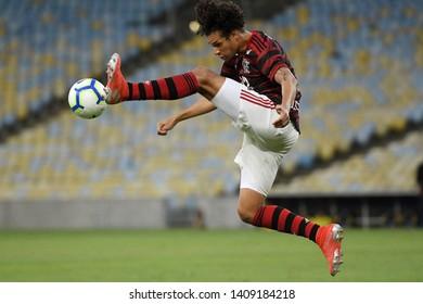 Rio de Janeiro, May 26, 2019. Football player Willian Arão of the Flamengo team during the game Flamengo X Atlético-PR for the Brazilian championship at the Maracanã stadium.
