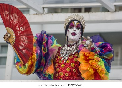 RIO DE JANEIRO - NOV 18: Participant of the Gay Parade dress to character. Event 17 Parada do Orgulho LGBT Rio 2012 at November 18, 2012 in Rio de janeiro, Brazil