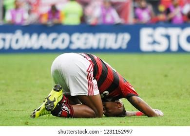Rio de Janeiro, November 15, 2018. Footballer Vitinho do Flamengo, during the Flamengo vs. Santos match for the Brazilian championship at the Maracanã stadium.
