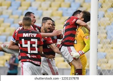 Rio de Janeiro, November 15, 2018. Flamengo football players celebrate their victory during the Flamengo vs. Santos match for the Brazilian championship at the Maracanã stadium.